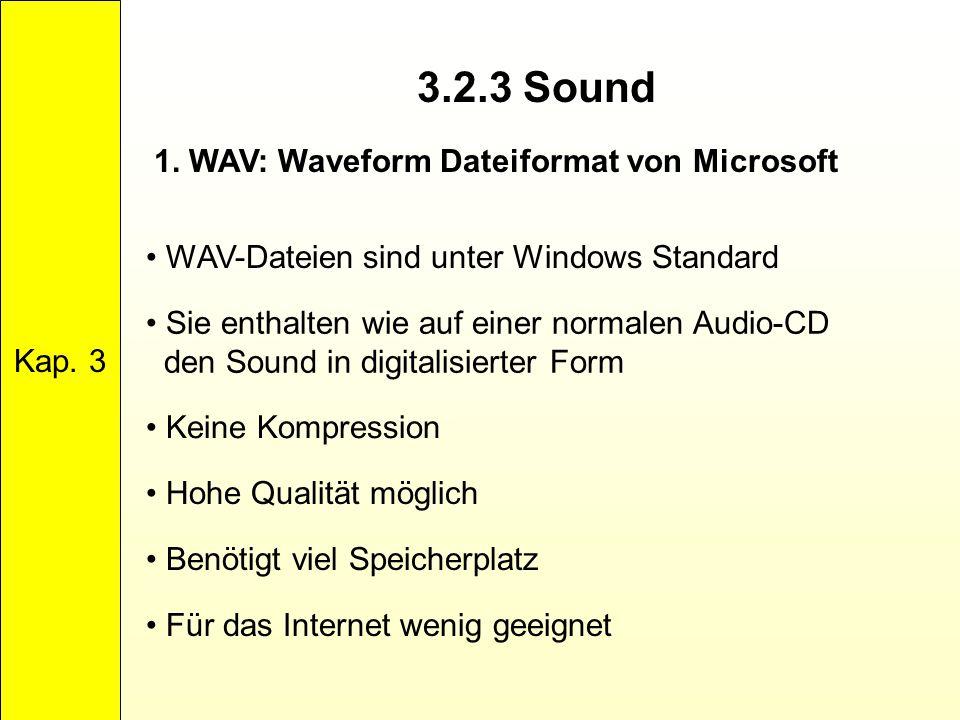 3.2.3 Sound Kap. 3 1. WAV: Waveform Dateiformat von Microsoft WAV-Dateien sind unter Windows Standard Sie enthalten wie auf einer normalen Audio-CD de