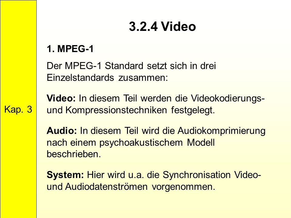 3.2.4 Video Kap. 3 1. MPEG-1 Der MPEG-1 Standard setzt sich in drei Einzelstandards zusammen: Video: In diesem Teil werden die Videokodierungs- und Ko