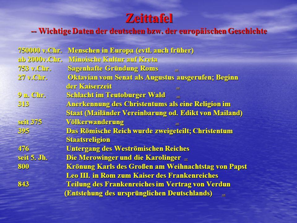 Zeittafel -- Wichtige Daten der deutschen bzw.der europäischen Geschichte 750000 v.Chr.