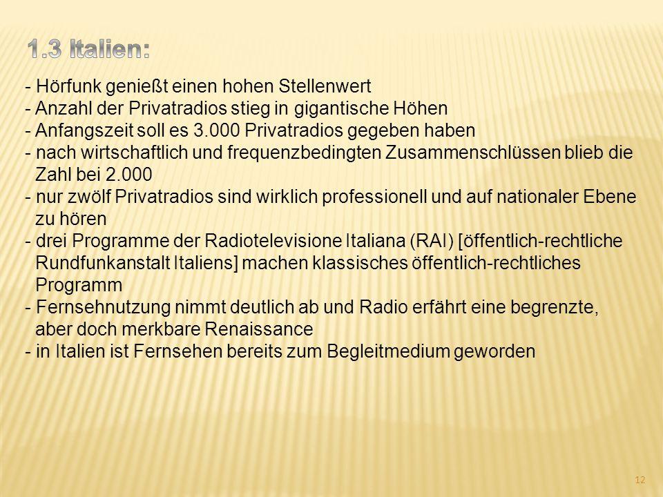 - Hörfunk genießt einen hohen Stellenwert - Anzahl der Privatradios stieg in gigantische Höhen - Anfangszeit soll es 3.000 Privatradios gegeben haben
