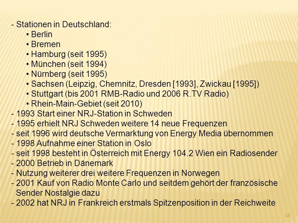 - Stationen in Deutschland: Berlin Bremen Hamburg (seit 1995) München (seit 1994) Nürnberg (seit 1995) Sachsen (Leipzig, Chemnitz, Dresden [1993], Zwi