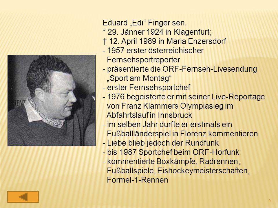 """Eduard """"Edi"""" Finger sen. * 29. Jänner 1924 in Klagenfurt; † 12. April 1989 in Maria Enzersdorf - 1957 erster österreichischer Fernsehsportreporter - p"""