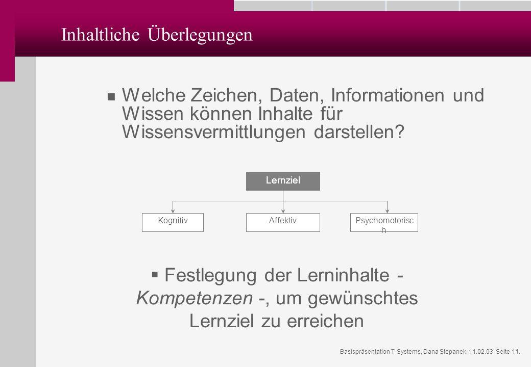 Basispräsentation T-Systems, Dana Stepanek, 11.02.03, Seite 11. Inhaltliche Überlegungen Welche Zeichen, Daten, Informationen und Wissen können Inhalt