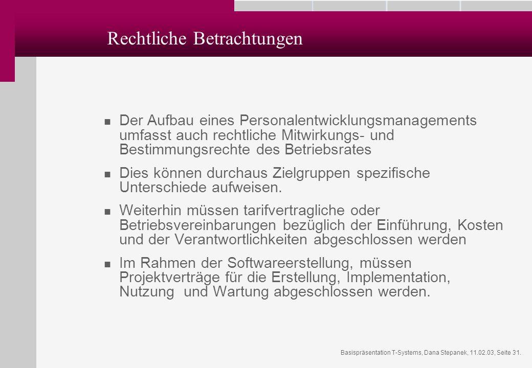 Basispräsentation T-Systems, Dana Stepanek, 11.02.03, Seite 31. Rechtliche Betrachtungen Der Aufbau eines Personalentwicklungsmanagements umfasst auch