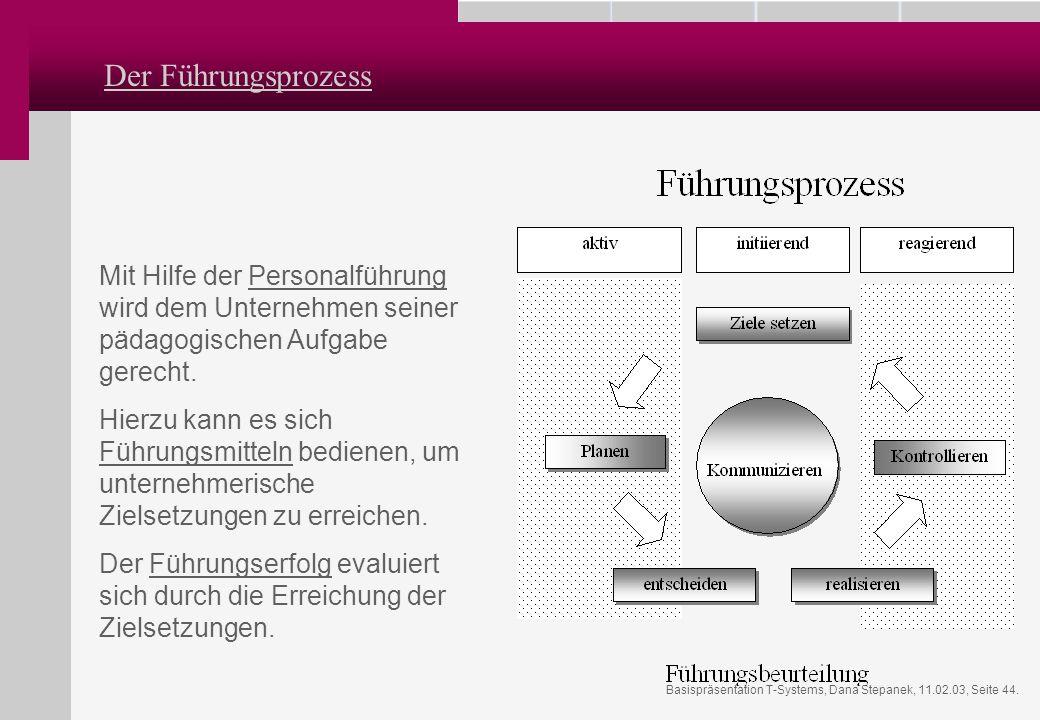 Basispräsentation T-Systems, Dana Stepanek, 11.02.03, Seite 44. Der Führungsprozess Mit Hilfe der Personalführung wird dem Unternehmen seiner pädagogi