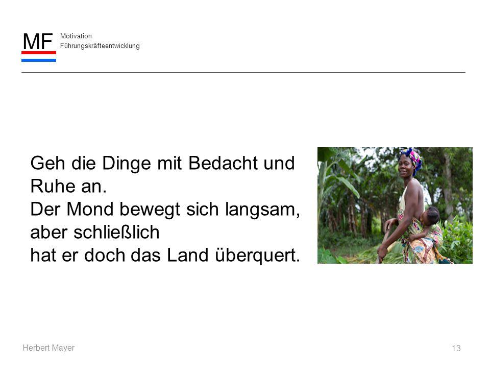 Motivation Führungskräfteentwicklung MF Herbert Mayer 13 Geh die Dinge mit Bedacht und Ruhe an.