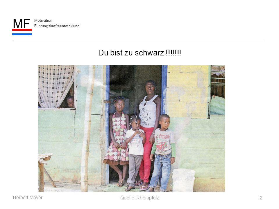 Motivation Führungskräfteentwicklung MF Herbert Mayer Du bist zu schwarz !!!!!!! 2Quelle: Rheinpfalz