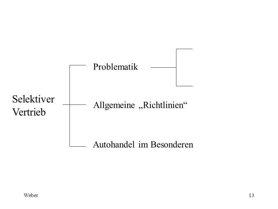"""Weber13 Selektiver Vertrieb Problematik Allgemeine """"Richtlinien Autohandel im Besonderen"""
