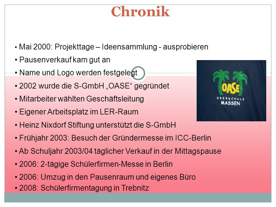 Chronik Mai 2000: Projekttage – Ideensammlung - ausprobieren Pausenverkauf kam gut an Name und Logo werden festgelegt Mitarbeiter wählten Geschäftslei