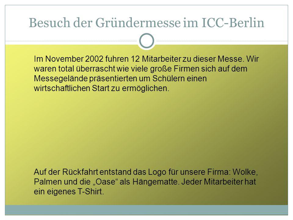 Besuch der Gründermesse im ICC-Berlin Im November 2002 fuhren 12 Mitarbeiter zu dieser Messe. Wir waren total überrascht wie viele große Firmen sich a