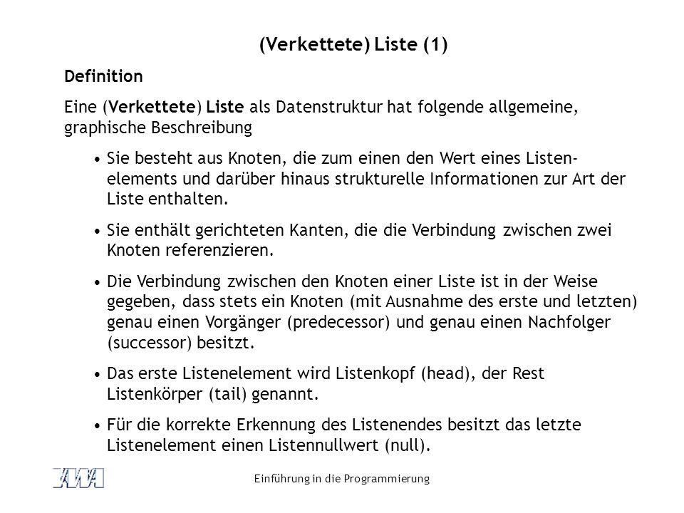 Einführung in die Programmierung (Verkettete) Liste (1) Definition Eine (Verkettete) Liste als Datenstruktur hat folgende allgemeine, graphische Besch