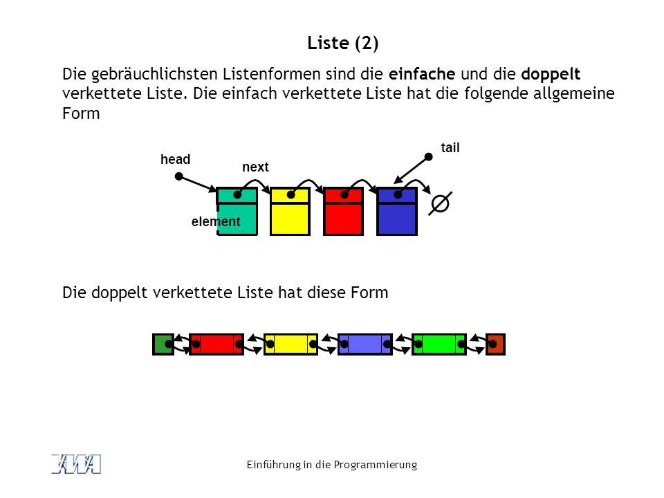 Einführung in die Programmierung Liste (2) Die gebräuchlichsten Listenformen sind die einfache und die doppelt verkettete Liste. Die einfach verkettet