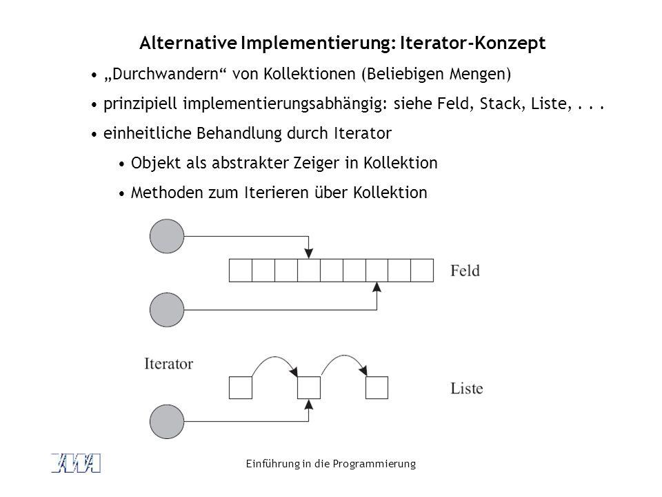 """Einführung in die Programmierung Alternative Implementierung: Iterator-Konzept """"Durchwandern"""" von Kollektionen (Beliebigen Mengen) prinzipiell impleme"""