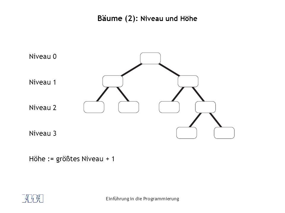 Einführung in die Programmierung Bäume (2): Niveau und Höhe Niveau 0 Niveau 1 Niveau 2 Niveau 3 Höhe := größtes Niveau + 1
