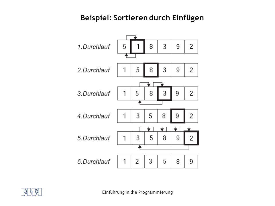 Einführung in die Programmierung Beispiel: Sortieren durch Einfügen