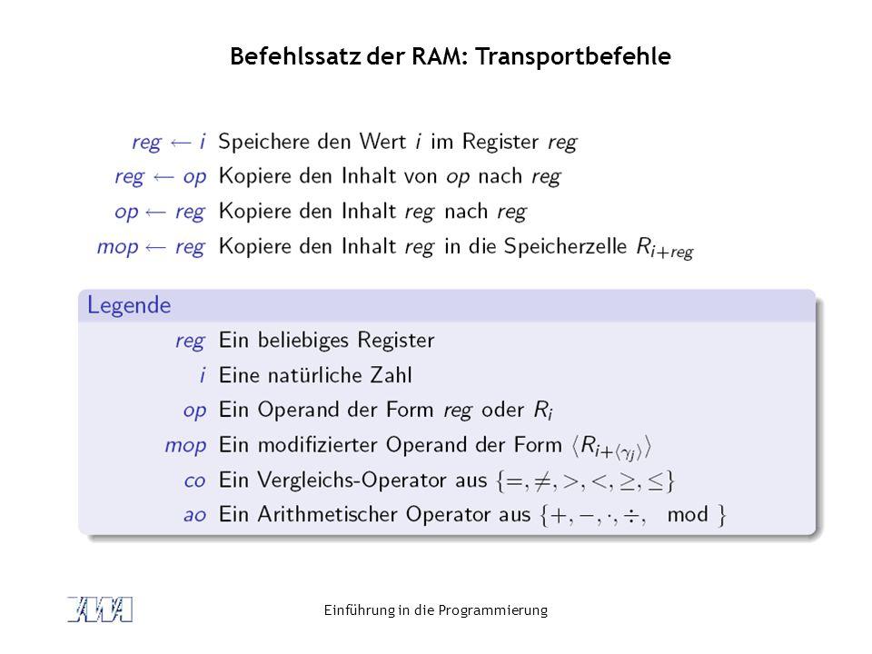 Einführung in die Programmierung Befehlssatz der RAM: Transportbefehle