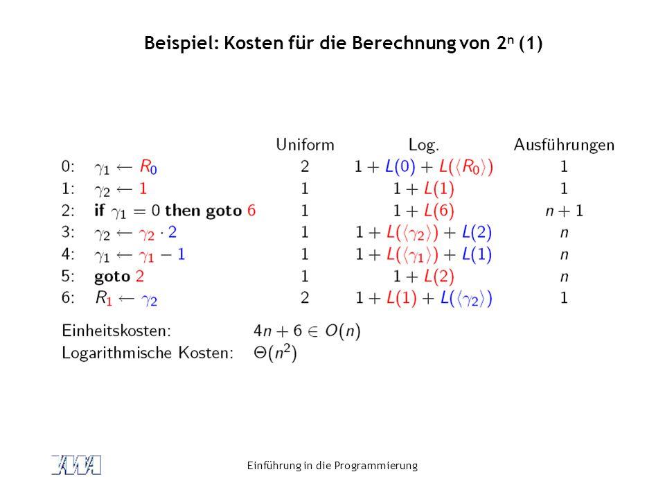Einführung in die Programmierung Beispiel: Kosten für die Berechnung von 2 n (1)
