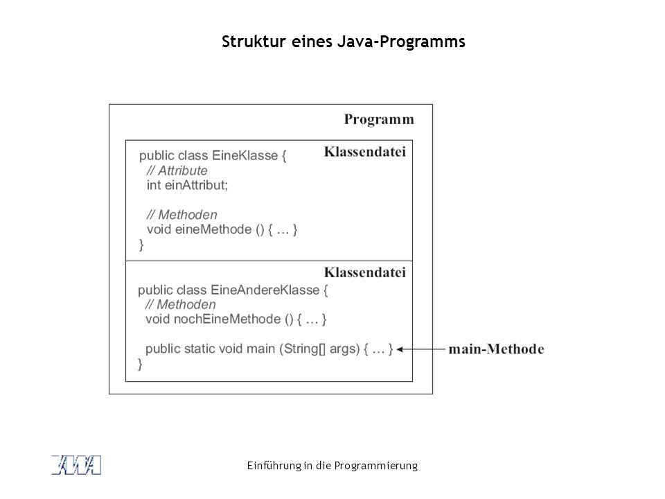 Einführung in die Programmierung Struktur eines Java-Programms