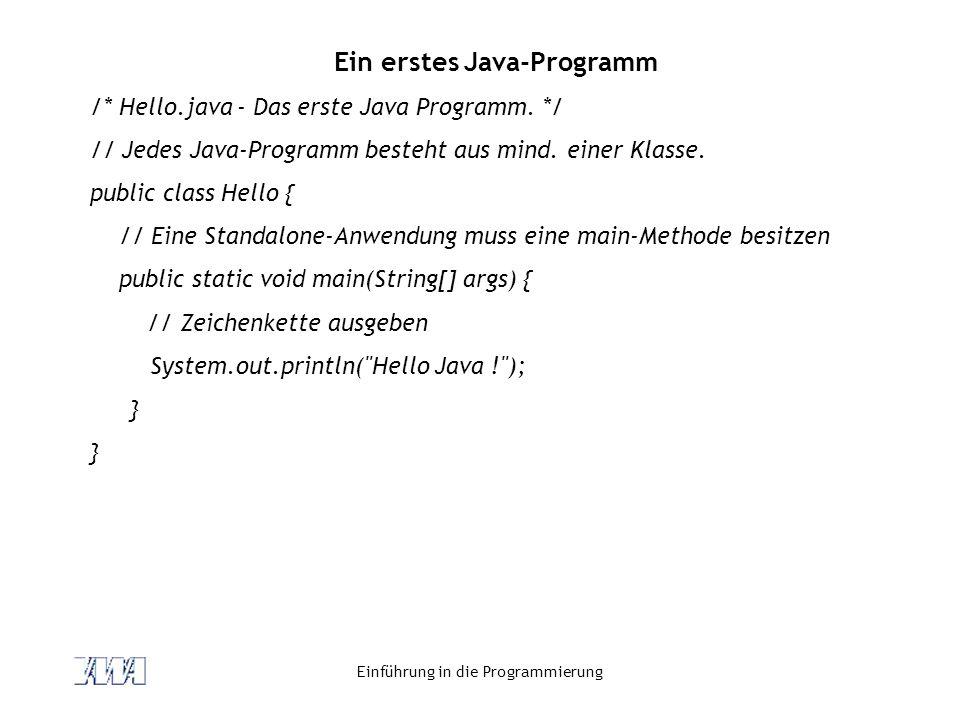 Einführung in die Programmierung Ein erstes Java-Programm /* Hello.java - Das erste Java Programm. */ // Jedes Java-Programm besteht aus mind. einer K