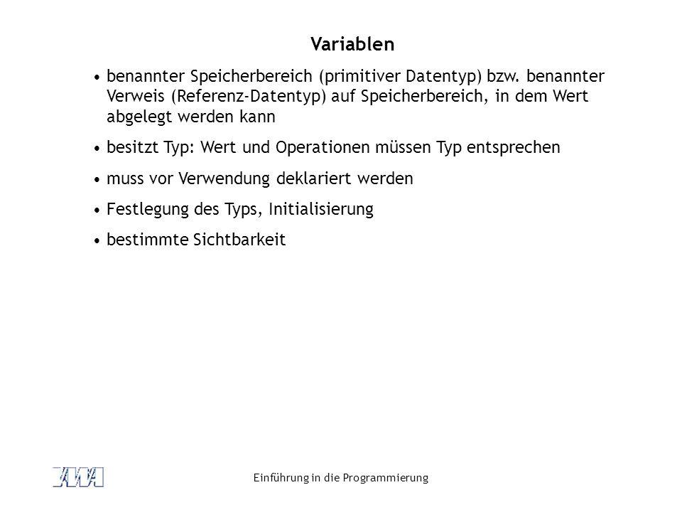 Einführung in die Programmierung Variablen benannter Speicherbereich (primitiver Datentyp) bzw. benannter Verweis (Referenz-Datentyp) auf Speicherbere