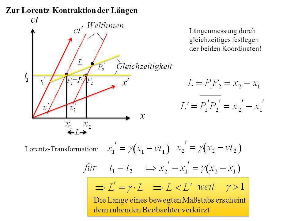   Gleichzeitigkeit Zur Lorentz-Kontraktion der Längen Längenmessung durch gleichzeitiges festlegen der beiden Koordinaten! Lorentz-Transformation: D