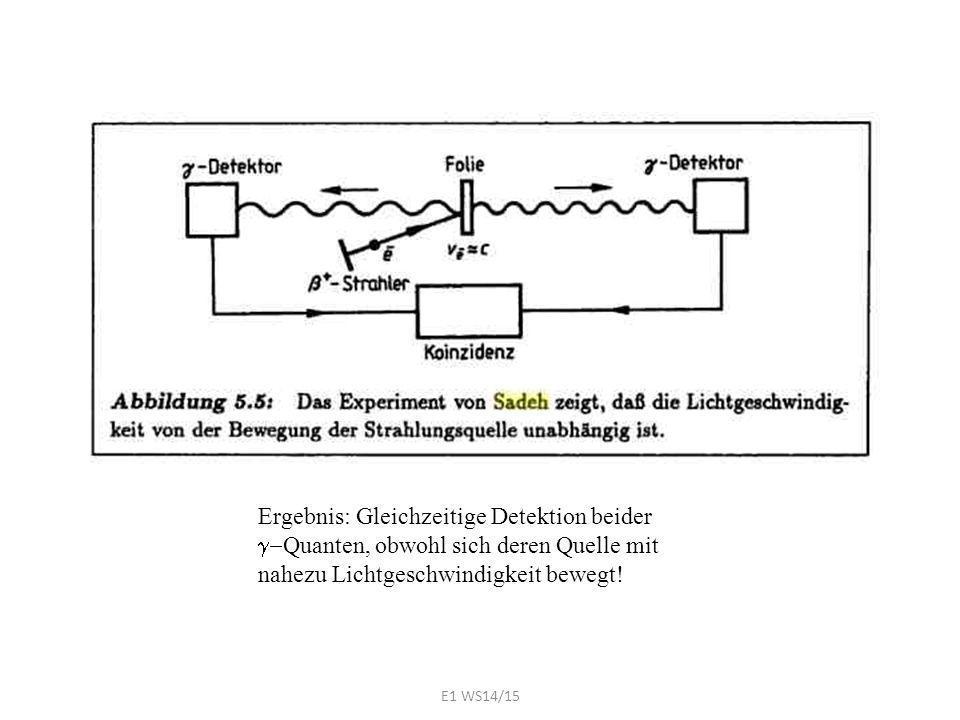 Ergebnis: Gleichzeitige Detektion beider  Quanten, obwohl sich deren Quelle mit nahezu Lichtgeschwindigkeit bewegt! E1 WS14/15