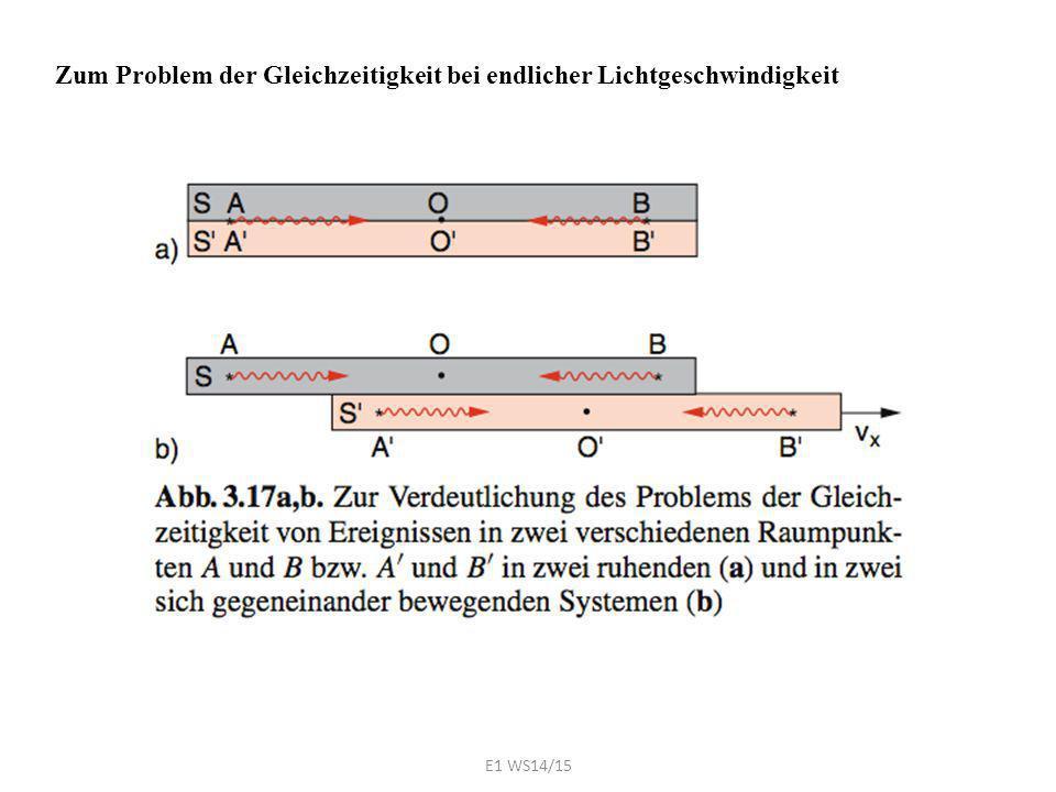 Zum Problem der Gleichzeitigkeit bei endlicher Lichtgeschwindigkeit E1 WS14/15