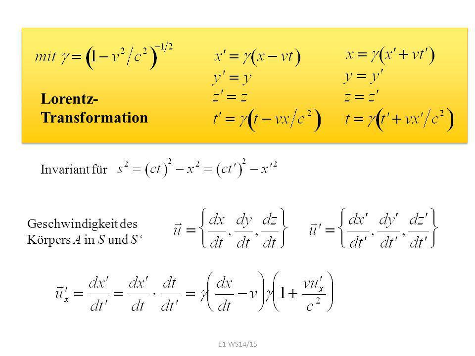 Lorentz- Transformation Geschwindigkeit des Körpers A in S und S' Invariant für E1 WS14/15