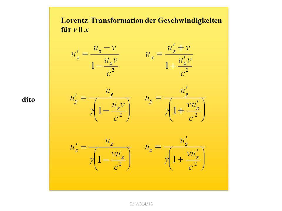 dito Lorentz-Transformation der Geschwindigkeiten für v II x E1 WS14/15