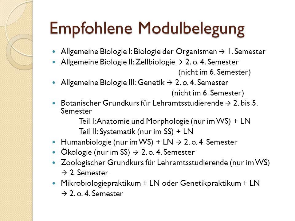 Empfohlene Modulbelegung Allgemeine Biologie I: Biologie der Organismen  1. Semester Allgemeine Biologie II: Zellbiologie  2. o. 4. Semester (nicht