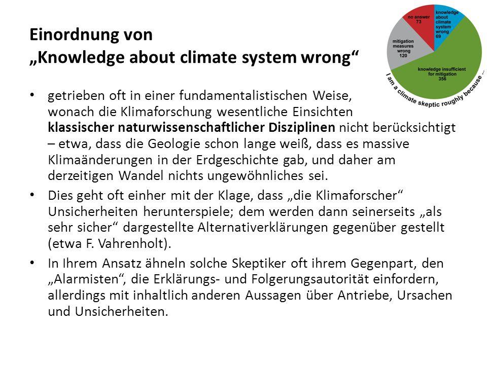 """Einordnung von """"Knowledge about climate system wrong"""" getrieben oft in einer fundamentalistischen Weise, wonach die Klimaforschung wesentliche Einsich"""