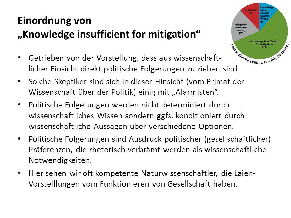 """Einordnung von """"Knowledge insufficient for mitigation"""" Getrieben von der Vorstellung, dass aus wissenschaft- licher Einsicht direkt politische Folgeru"""
