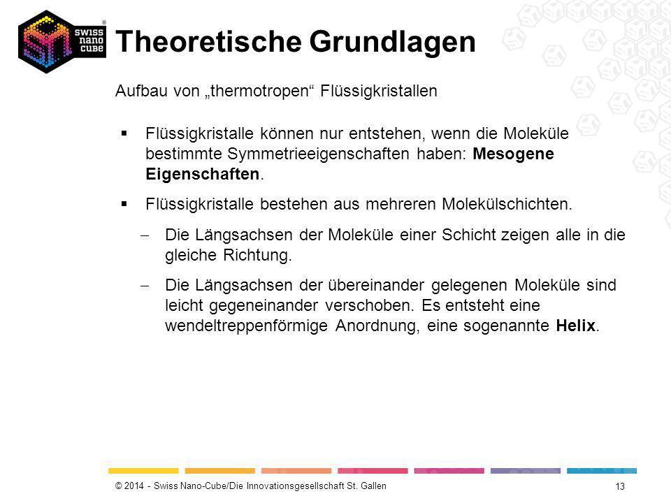 """© 2014 - Swiss Nano-Cube/Die Innovationsgesellschaft St. Gallen Theoretische Grundlagen 13 Aufbau von """"thermotropen"""" Flüssigkristallen  Flüssigkrista"""