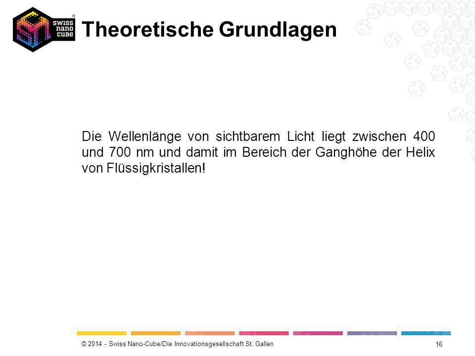 © 2014 - Swiss Nano-Cube/Die Innovationsgesellschaft St. Gallen Theoretische Grundlagen 16 Die Wellenlänge von sichtbarem Licht liegt zwischen 400 und