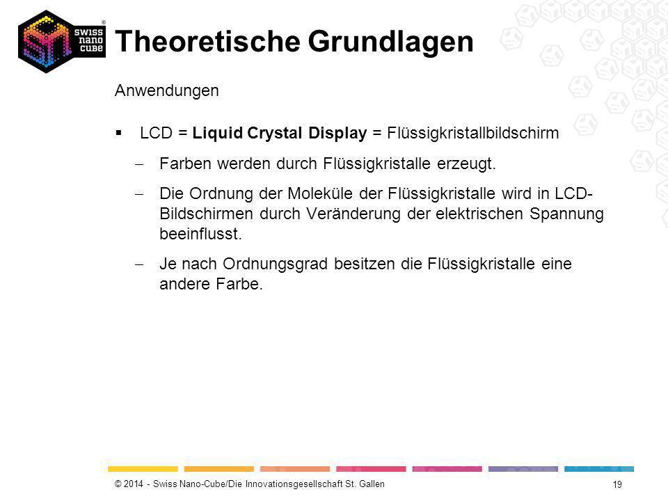 © 2014 - Swiss Nano-Cube/Die Innovationsgesellschaft St. Gallen Theoretische Grundlagen 19 Anwendungen  LCD = Liquid Crystal Display = Flüssigkristal