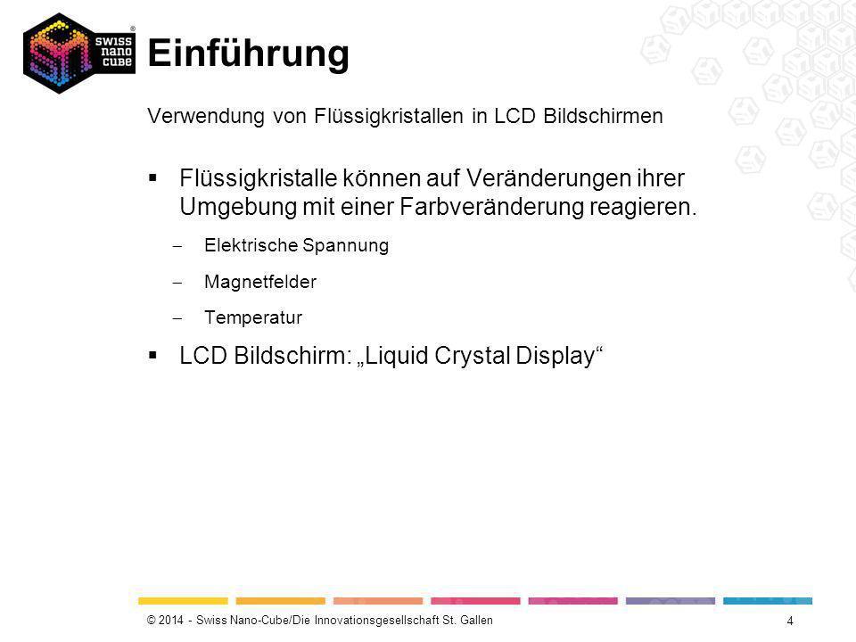 © 2014 - Swiss Nano-Cube/Die Innovationsgesellschaft St. Gallen Einführung 4 Verwendung von Flüssigkristallen in LCD Bildschirmen  Flüssigkristalle k