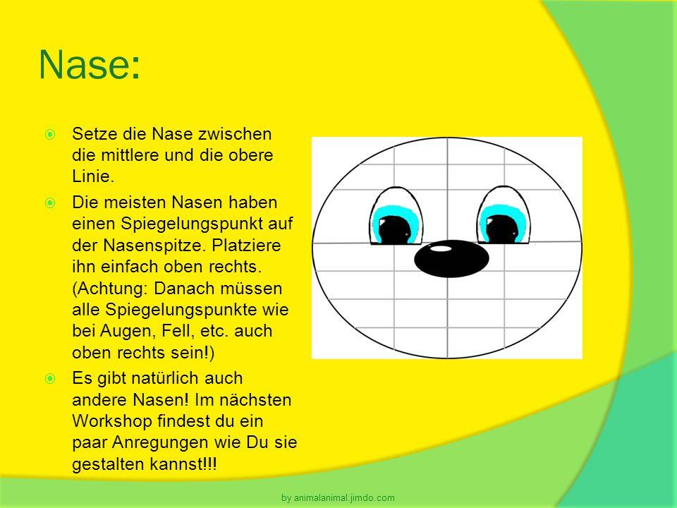 Nase:  Setze die Nase zwischen die mittlere und die obere Linie.  Die meisten Nasen haben einen Spiegelungspunkt auf der Nasenspitze. Platziere ihn