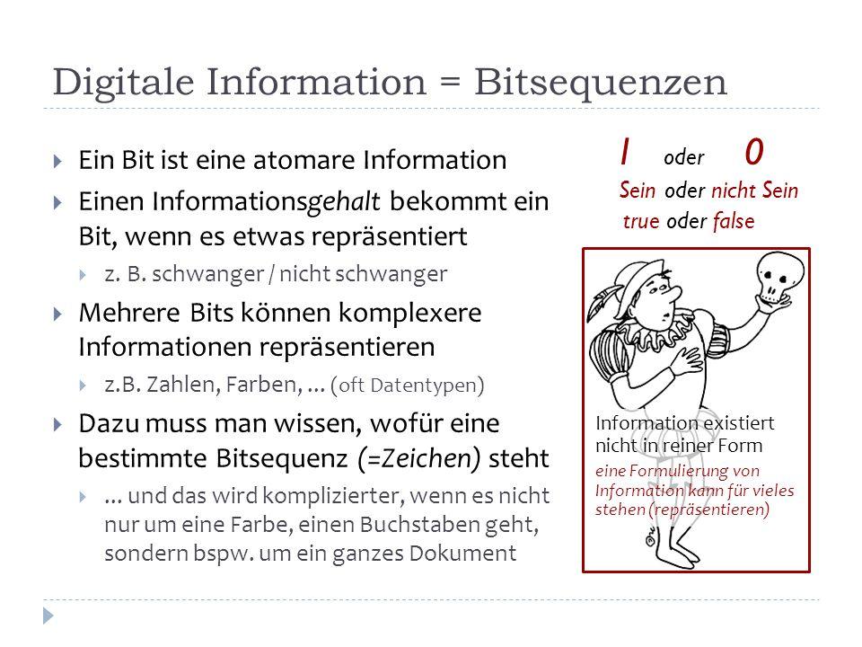 Digitale Information = Bitsequenzen  Ein Bit ist eine atomare Information  Einen Informationsgehalt bekommt ein Bit, wenn es etwas repräsentiert  z