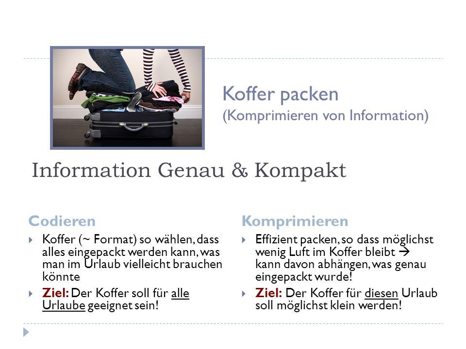 Information Genau & Kompakt Codieren Komprimieren  Koffer (~ Format) so wählen, dass alles eingepackt werden kann, was man im Urlaub vielleicht brauchen könnte  Ziel: Der Koffer soll für alle Urlaube geeignet sein.