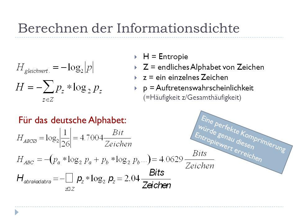 Berechnen der Informationsdichte  H = Entropie  Z = endliches Alphabet von Zeichen  z = ein einzelnes Zeichen  p = Auftretenswahrscheinlichkeit (=