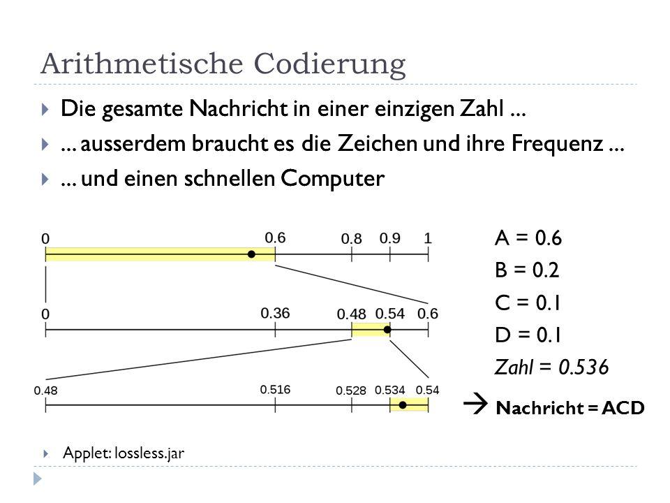 Arithmetische Codierung  Die gesamte Nachricht in einer einzigen Zahl... ... ausserdem braucht es die Zeichen und ihre Frequenz... ... und einen sc