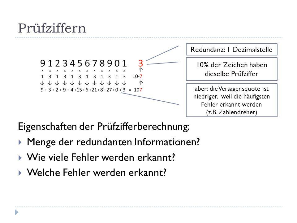 Prüfziffern Eigenschaften der Prüfzifferberechnung:  Menge der redundanten Informationen?  Wie viele Fehler werden erkannt?  Welche Fehler werden e