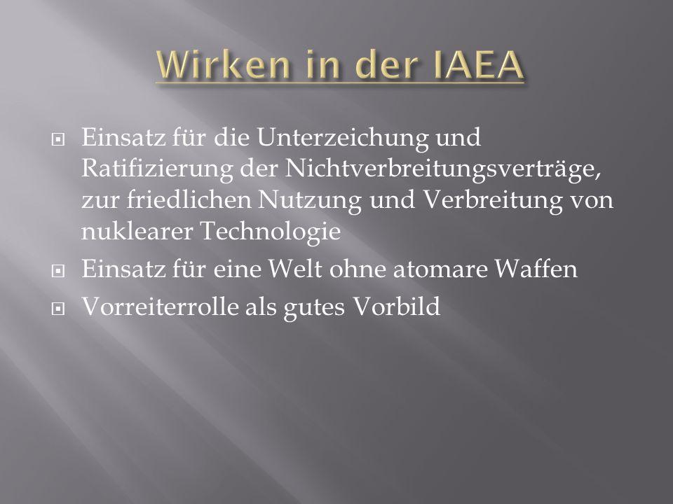  Einsatz für die Unterzeichung und Ratifizierung der Nichtverbreitungsverträge, zur friedlichen Nutzung und Verbreitung von nuklearer Technologie  E