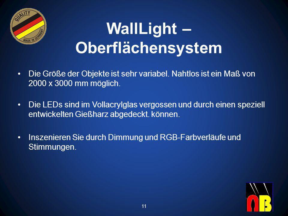 WallLight – Oberflächensystem Die Größe der Objekte ist sehr variabel.
