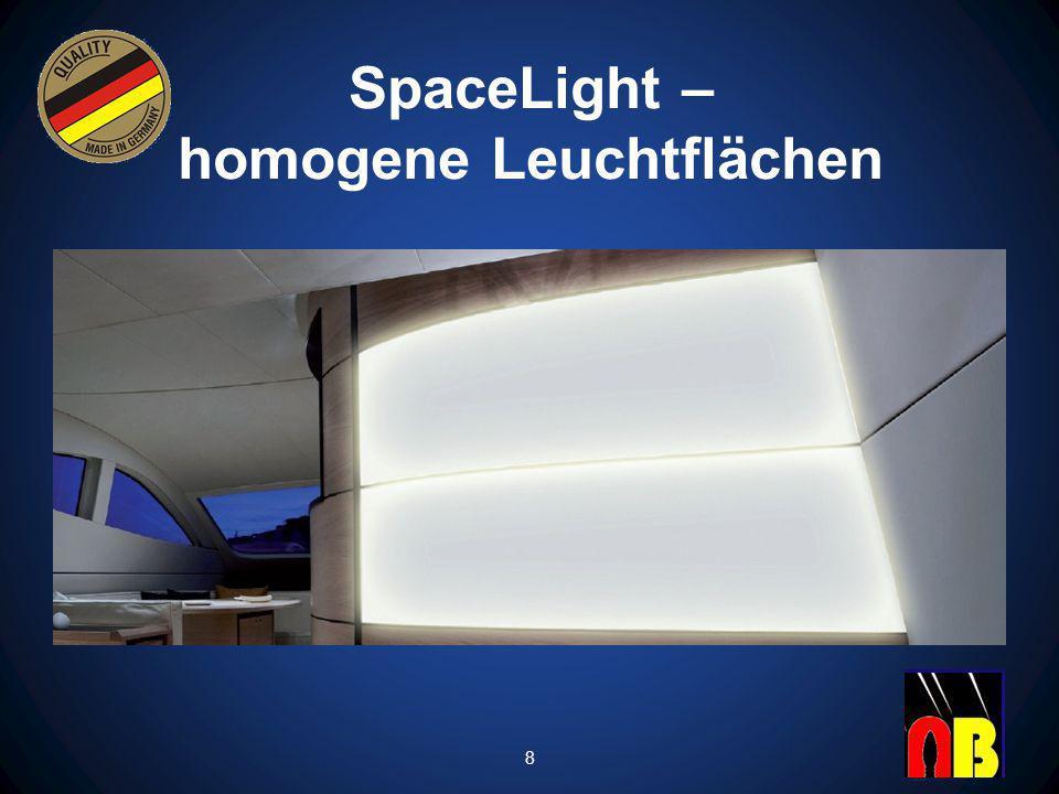 Homogen vollflächig bis zu den Rändern ausgeleuchtete Objekte.