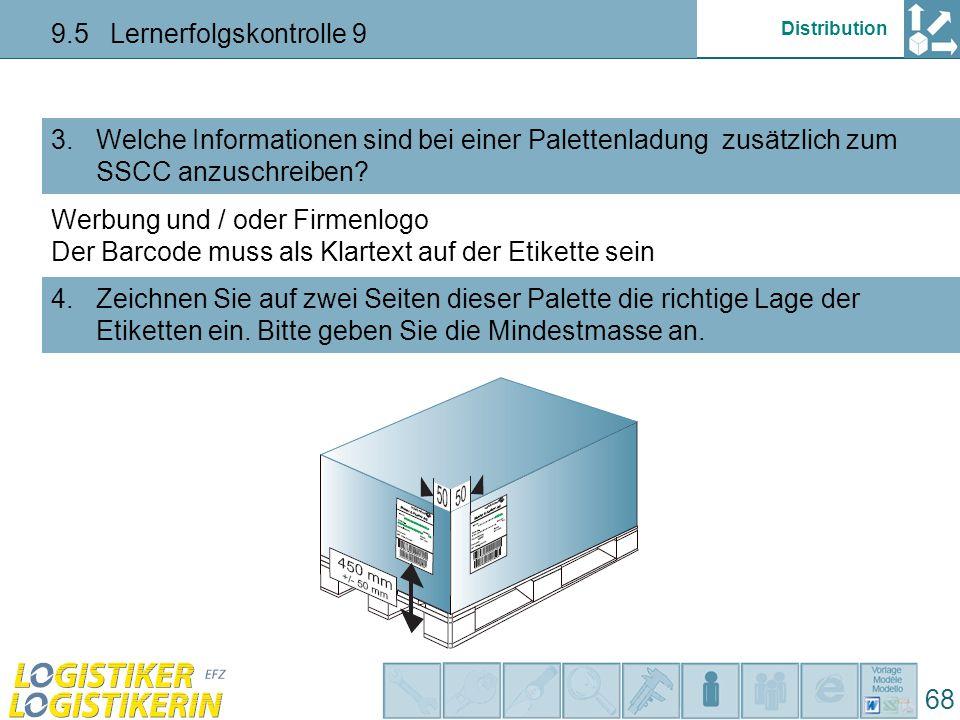 Distribution 9.5 Lernerfolgskontrolle 9 68 Welche Informationen sind bei einer Palettenladung zusätzlich zum SSCC anzuschreiben.