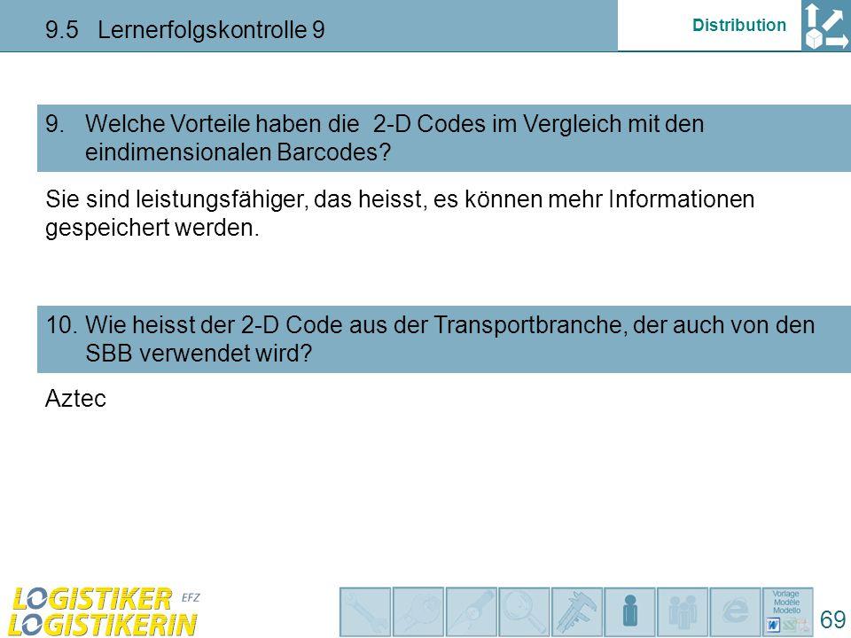Distribution 9.5 Lernerfolgskontrolle 9 69 Welche Vorteile haben die 2-D Codes im Vergleich mit den eindimensionalen Barcodes? 9. Wie heisst der 2-D C