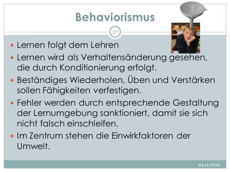 Behaviorismus 24.11.2014 37 Lernen folgt dem Lehren Lernen wird als Verhaltensänderung gesehen, die durch Konditionierung erfolgt. Beständiges Wiederh