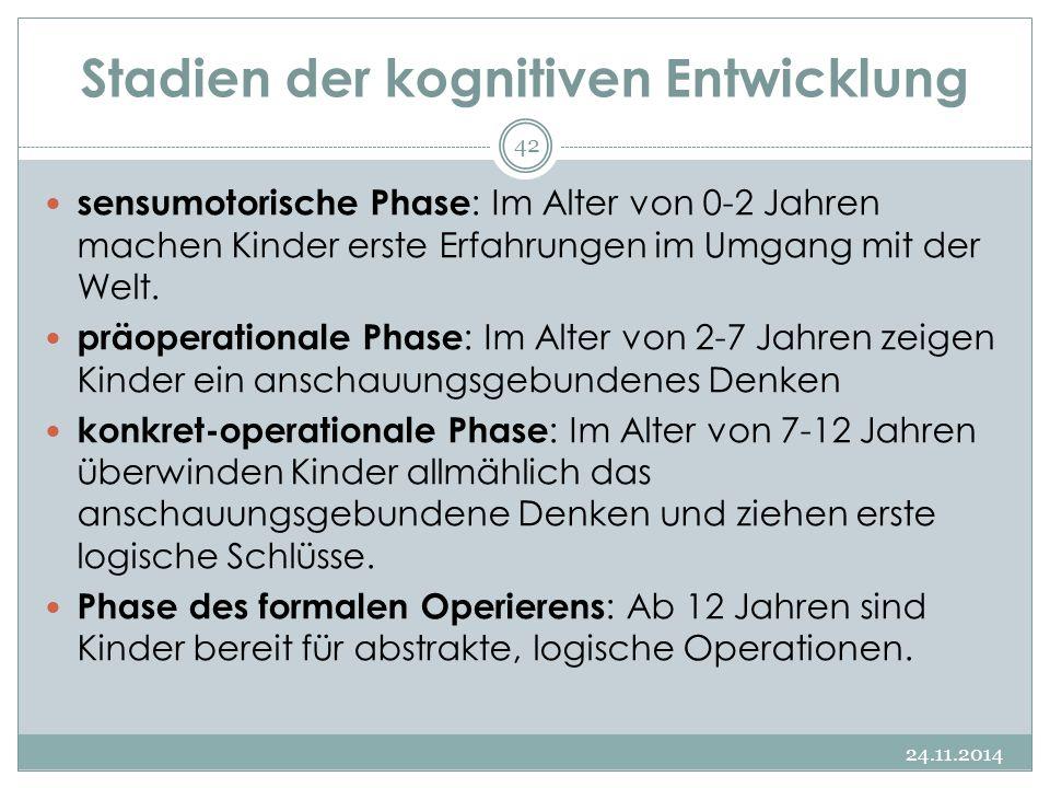 Stadien der kognitiven Entwicklung 24.11.2014 42 sensumotorische Phase : Im Alter von 0-2 Jahren machen Kinder erste Erfahrungen im Umgang mit der Wel